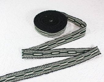 Woven Trim (6 yards), Woven Border, Cotton Ribbon, Grosgrain Ribbon, Dress Border, Border Trim, T443