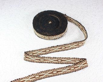 Woven Trim (6 yards), Woven Border, Cotton Ribbon, Grosgrain Ribbon, Dress Border, Ikat Fabric, T494