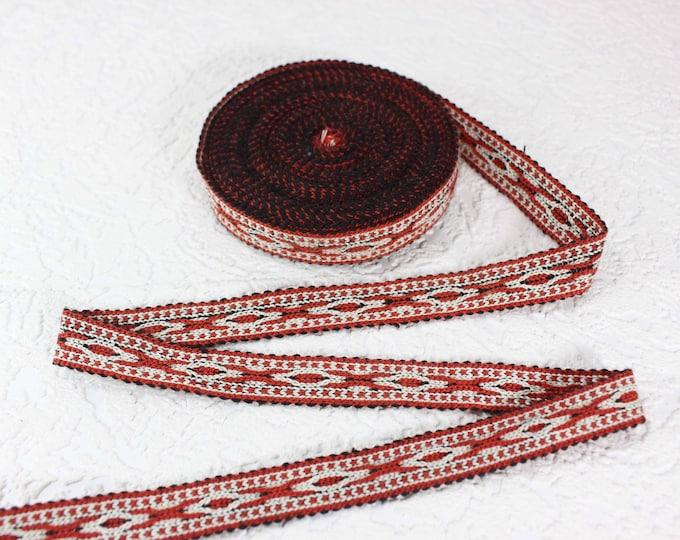 Woven Trim (6 yards), Woven Border, Cotton Ribbon, Grosgrain Ribbon, Dress Border, Border Trim, T446