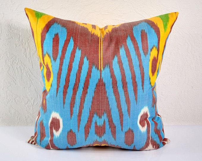 Ikat Pillow, Hand Woven Ikat Pillow Cover  IP87 (A471-1aa3), Ikat throw pillows, Designer pillows, Decorative pillows, Accent pillows
