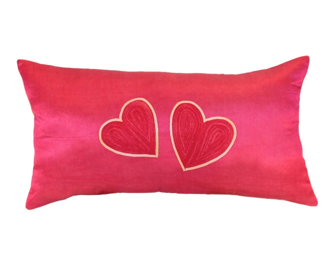 SALE!!! Two Hearts Pink Pillow, Silk Handmade Suzani Pillow Cover SP13 (msp783), Suzani Pillow, Suzani Throw, Decorative pillows