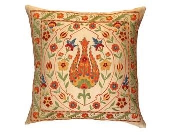 Handmade Suzani Silk Pillow Cover SP33 (EMP114), Suzani Pillow, Uzbek Suzani, Suzani Throw, Suzani, Decorative pillows, Accent pillows
