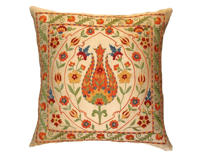 Handmade Suzani Silk Pillow Cover SP33 (EMP114), Suzani Pillow, Uzbek Suzani, Suzani Throw, Suzani, Decorative pillows, Accent pillows