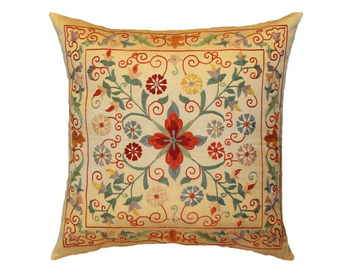 Handmade Suzani Silk Pillow Cover SP12, Suzani Pillow, Uzbek Suzani, Suzani Throw, Suzani, Decorative pillows, Accent pillows