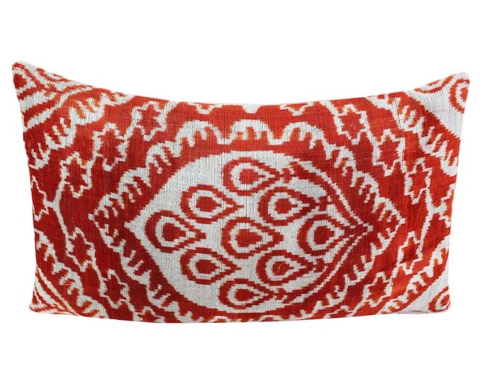 Silk Velvet Ikat Pillow Cover VP56, Bohemian pillow, Velvet Ikat Pillow, Velvet Pillow, Velvet Pillow Cover, Ikat Pillows, Throw Pillows