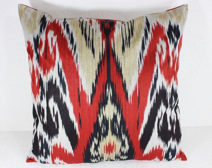 Cotton Ikat Pillow, Ikat Pillow Cover,  CP19 (C159), Ikat throw pillows, Designer pillows, Decorative pillows, Accent pillows