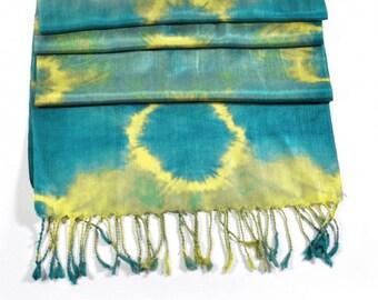 Corona Blue Ikat Silk Scarf - Sc25 (6008a)