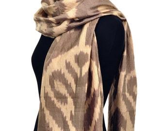 Treasure Taupe Ikat Silk Scarf - Sc29 (6014)