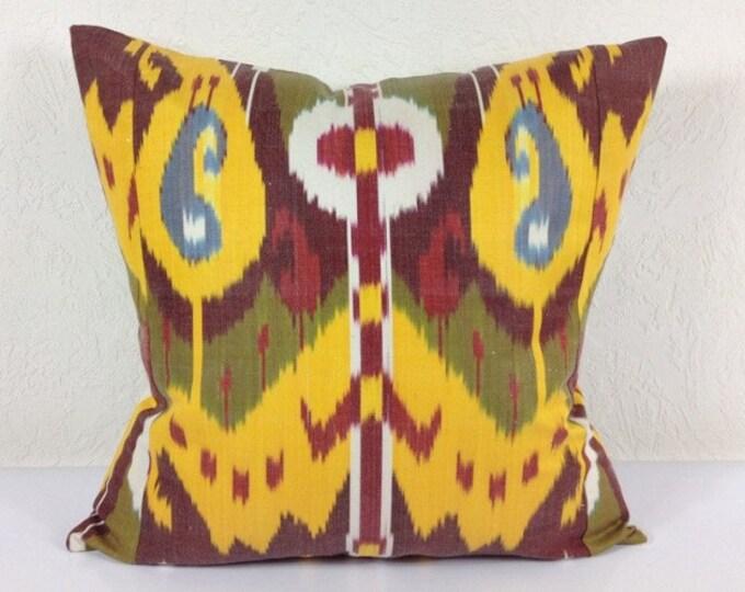 Ikat Pillow, Hand Woven Ikat Pillow Cover IP93 (A408-1AA3), Ikat throw pillows, Designer pillows, Decorative pillows, Accent pillows