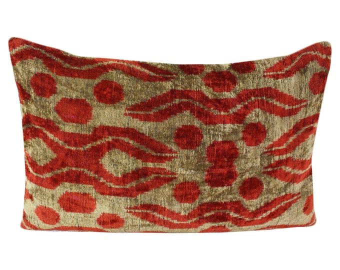 Silk Velvet Ikat Pillow Cover VP224, Bohemian pillow, Velvet Ikat Pillow, Velvet Pillow, Velvet Pillow Cover, Ikat Pillows, Throw Pillows