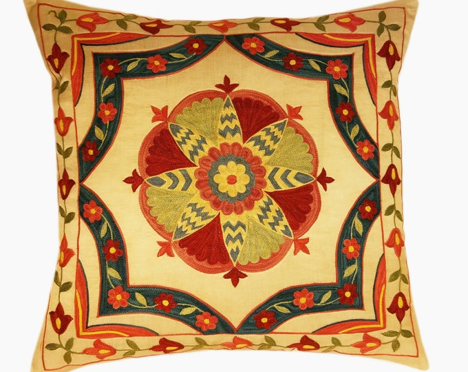 Suzani Pillow, Suzani Silk Pillow Cover SP6 (SP7-16), Uzbek Suzani, Suzani, Decorative pillows, Accent pillows, Designer Pillows
