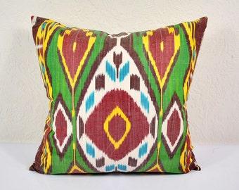 Ikat Pillow, Hand Woven Ikat Pillow Cover  IP85 (a528-1aa3), Ikat throw pillows, Designer pillows, Decorative pillows, Accent pillows