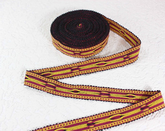 Woven Trim (6 yards), Woven Border, Cotton Ribbon, Grosgrain Ribbon, Dress Border, Border Trim, T427