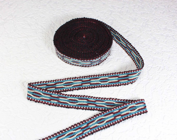 Woven Trim (6 yards), Woven Border, Cotton Ribbon, Grosgrain Ribbon, Dress Border, Ikat Fabric, T486