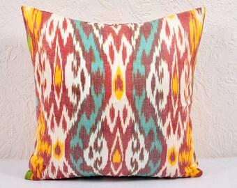 Ikat Pillow, Hand Woven Ikat Pillow Cover  IP28 (spi507), Ikat throw pillows, Designer pillows, Decorative pillows