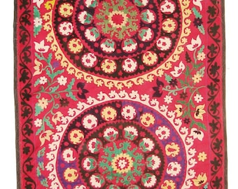 Suzani Wall Hanging, Handmade Vintage Suzani VS84 (NL1428), Uzbek Suzani, Suzani Blanket, Suzani Tapestry, Suzani Bedding, Suzani Throw