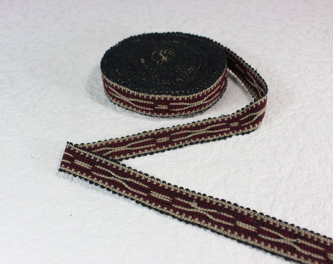 Woven Trim (6 yards), Woven Border, Cotton Ribbon, Grosgrain Ribbon, Dress Border, Border Trim, T114 (R431)
