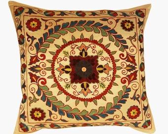 Suzani Pillow, Suzani Silk Pillow Cover SP7 (SP7-15), Uzbek Suzani, Suzani, Decorative pillows, Accent pillows, Designer Pillows