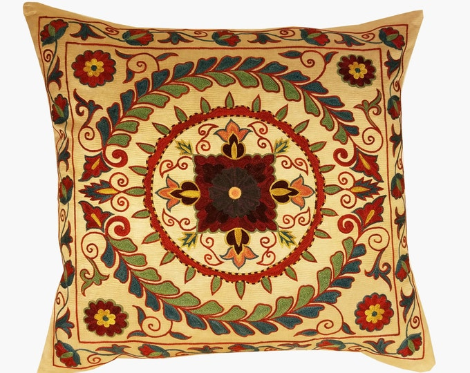 Suzani Pillow, Suzani Silk Pillow Cover SP7 (SP7-15), Uzbek Suzani, Suzani, Decorative pillows, Accent pillows, Designer Pillows