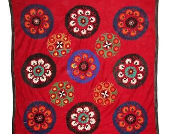 Suzani Wall Hanging, Handmade Vintage Suzani VS65 (NL1386), Uzbek Suzani, Suzani Blanket, Suzani Tapestry, Suzani Bedding, Suzani Throw