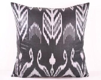 Ikat Pillow, Hand Woven Ikat Pillow Cover IP108 (A318-2AB3), Ikat throw pillows, Designer pillows, Decorative pillows, Accent pillows