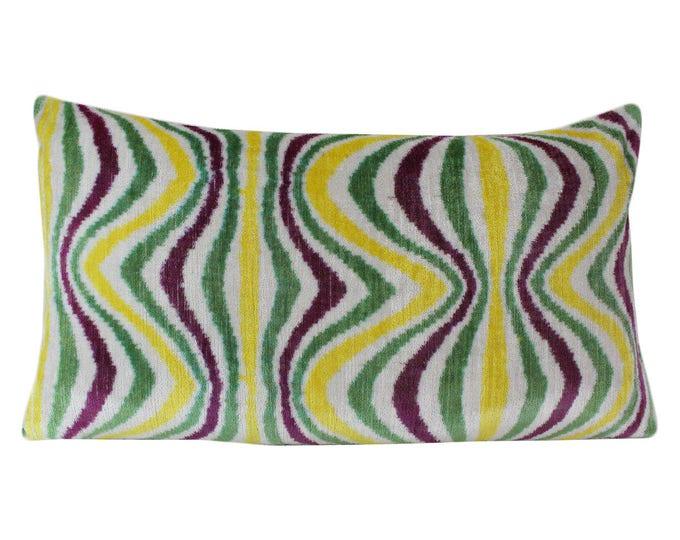 Silk Velvet Ikat Pillow Cover VP49, Bohemian pillow, Velvet Ikat Pillow, Velvet Pillow, Velvet Pillow Cover, Ikat Pillows, Throw Pillows