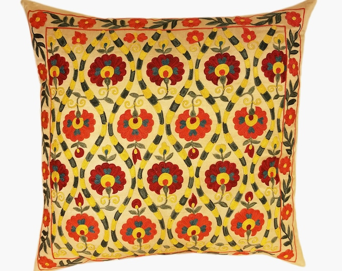 Suzani Pillow, Suzani Silk Pillow Cover SP11 (SP7-09), Uzbek Suzani, Suzani, Decorative pillows, Accent pillows, Designer Pillows