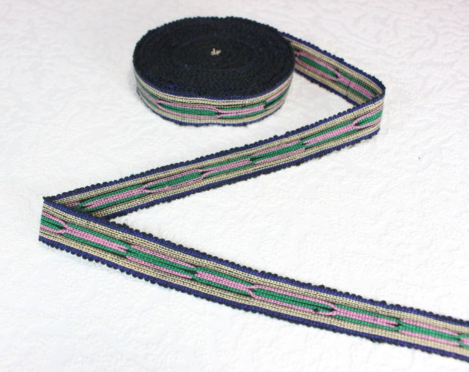Woven Trim (4 yards), Woven Border, Cotton Ribbon, Grosgrain Ribbon, Dress Border, Border Trim, T132 (R305)
