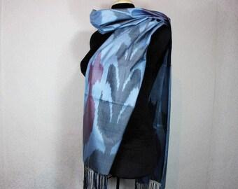 Ikat Scarf, Silk Scarf Sc14