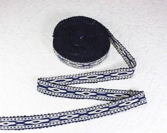 Woven Trim (6 yards), Woven Border, Cotton Ribbon, Grosgrain Ribbon, Dress Border, Ikat Fabric, T487