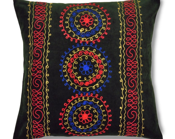 "Dew of Denau, 19"" Patduzi Velvet Pillow Cover - PP5 (4066)"