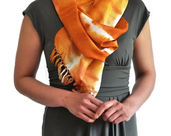 Tangerine Dreams Ikat Silk Scarf- Sc16
