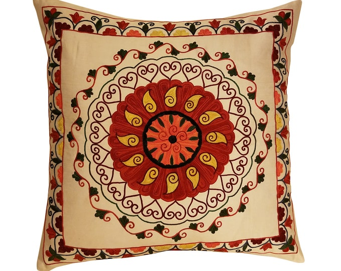 Hand Embroidered Suzani Pillow Cover SP23 (msp796), Suzani Pillow, Suzani Throw, Boho Pillow, Suzani, Decorative pillows, Accent pillows