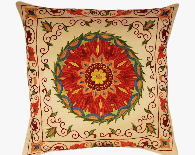 Suzani Pillow, Suzani Silk Pillow Cover SP10 (SP7-11), Uzbek Suzani, Suzani, Decorative pillows, Accent pillows, Designer Pillows