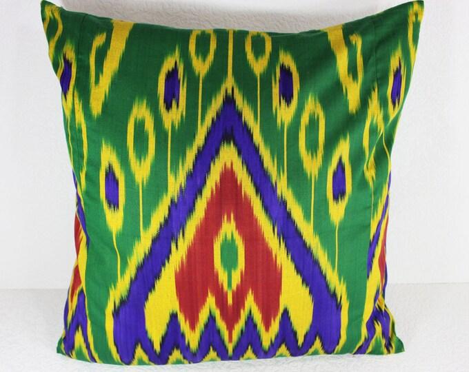 Cotton Ikat Pillow, Ikat Pillow Cover,  CP20 (C164), Ikat throw pillows, Designer pillows, Decorative pillows, Accent pillows