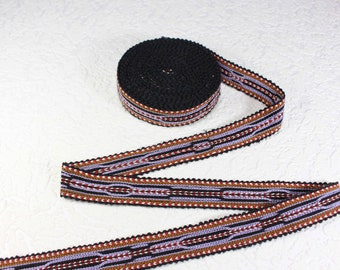 Woven Trim (6 yards), Woven Border, Cotton Ribbon, Grosgrain Ribbon, Dress Border, Ikat Fabric, T495
