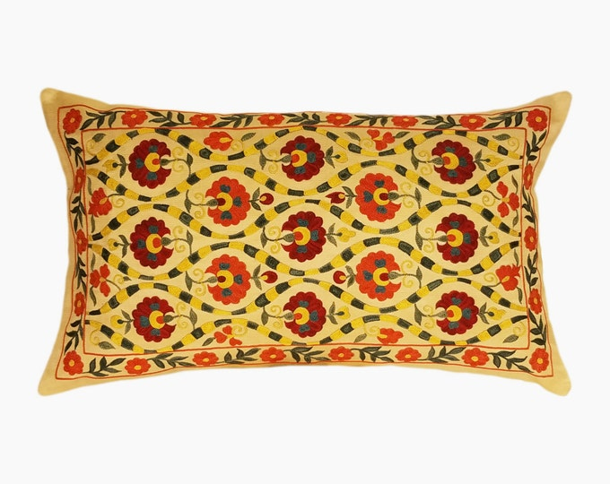 Handmade Suzani Pillow Cover SP18 (msp785), Suzani Pillow, Uzbek Suzani, Suzani Throw, Boho Pillow, Suzani, Decorative pillows