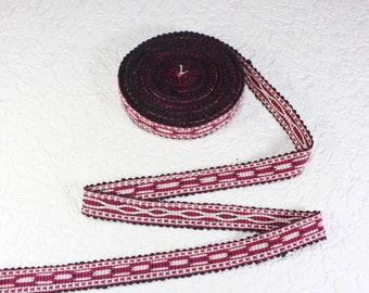 Woven Trim (6 yards), Woven Border, Cotton Ribbon, Grosgrain Ribbon, Dress Border, Ikat Fabric, T498