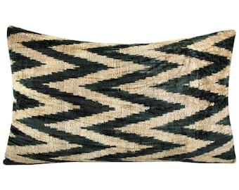 Handmade Velvet Silk Ikat pillow cover VP4, Bohemian pillow