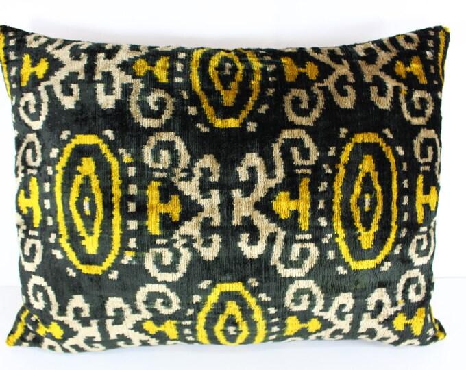 Silk Velvet Ikat Pillow Cover VP14, Bohemian pillow, Velvet Ikat Pillow, Velvet Pillow