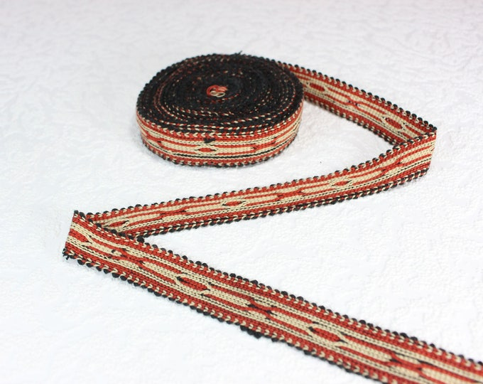 Woven Trim (6 yards), Woven Border, Cotton Ribbon, Grosgrain Ribbon, Dress Border, Border Trim, T139 (R294)