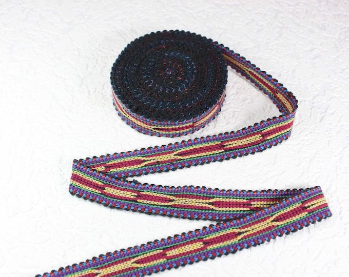 Woven Trim (6 yards), Woven Border, Cotton Ribbon, Grosgrain Ribbon, Dress Border, Ikat Fabric, T490