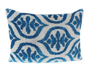 Silk Velvet Ikat Pillow Cover VP36, Bohemian pillow, Velvet Ikat Pillow, Velvet Pillow, Velvet Pillow Cover, Ikat Pillows, Throw Pillows