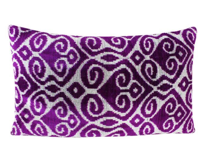Silk Velvet Ikat Pillow Cover VP57, Bohemian pillow, Velvet Ikat Pillow, Velvet Pillow, Velvet Pillow Cover, Ikat Pillows, Throw Pillows