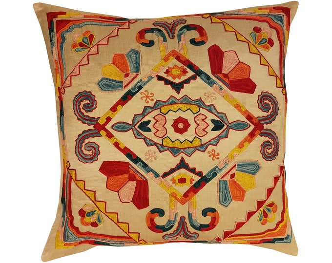 Hand Embroidered Suzani Pillow Cover SP35 (msp797), Suzani Pillow, Suzani Throw, Boho Pillow, Suzani, Decorative pillows, Accent pillows