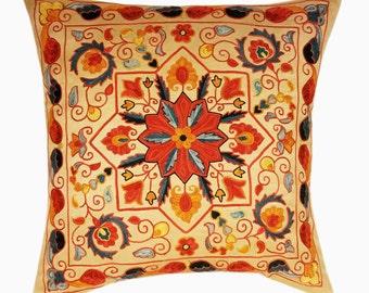 Suzani Pillow, Suzani Silk Pillow Cover SP4 (SP7-19), Uzbek Suzani, Suzani, Decorative pillows, Accent pillows, Designer Pillows