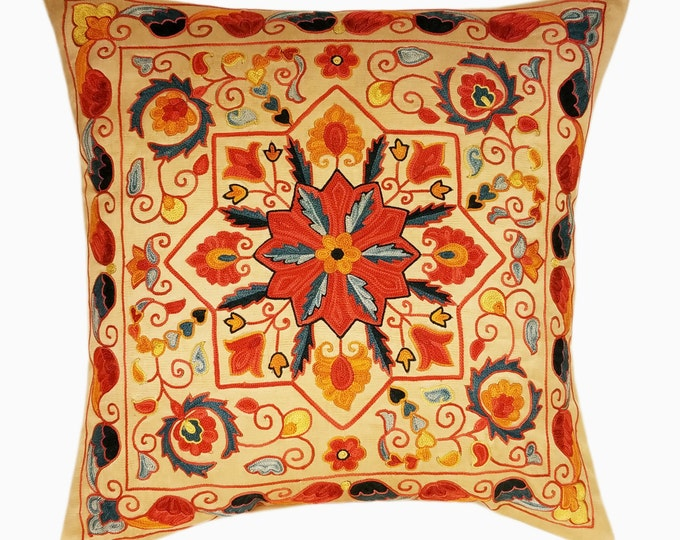 Suzani Pillow, Suzani Silk Pillow Cover SP4 (SP7-19), Uzbek Suzani, Suzani, Decorative pillows, Accent pillows, Designer Pillows
