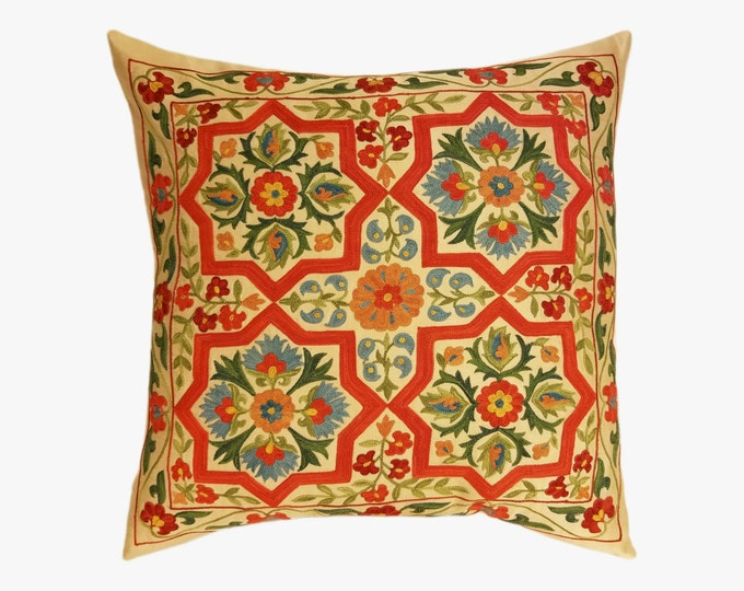 Hand Embroidered Suzani Pillow Cover SP20 (SP7-01), Suzani Pillow, Uzbek Suzani, Suzani Throw, Boho Pillow, Decorative Pillows