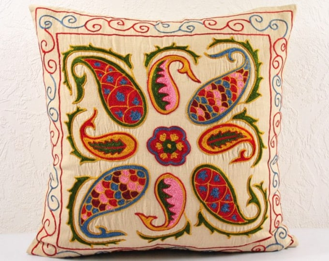 SALE! Handmade Suzani Pillow Cover SP17 (USP113), Suzani Pillow, Suzani Throw, Suzani, Decorative pillows, Accent pillows, Small Price