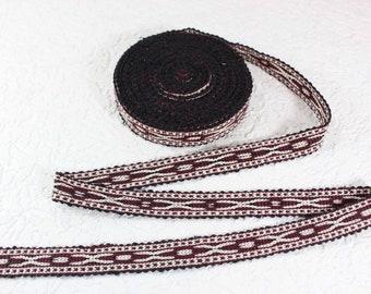 Woven Trim (6 yards), Woven Border, Cotton Ribbon, Grosgrain Ribbon, Dress Border, Border Trim, T442
